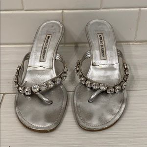 silver kitten heels with diamond strap